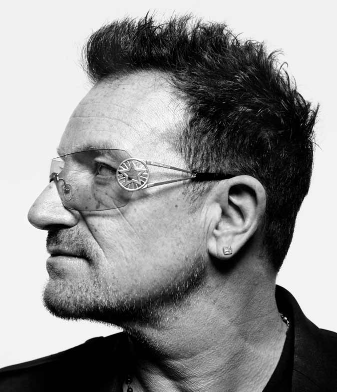 spiky hairstyle for men with receding hairline example Bono U2